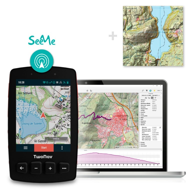 Pack: GPS Trail 2 Bike + Land + Mapa España Topo Full + SeeMe