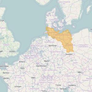Allemagne Topo Zones Schleswig-Holstein + Hamburg + Mecklenburg-Vorpommern + Brandenburg + Berlin