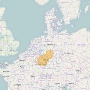 Deutschland Topo Zonen Rhineland-Palatinate + Saarland + Hesse
