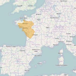 Frankreich IGN Top25 Zonen Ouest