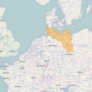 Germany Topo Zones Schleswig-Holstein + Hamburg + Mecklenburg-Vorpommern + Brandenburg + Berlin
